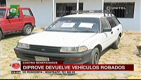 Diprove devuelve cuatro vehículos robados a sus dueños