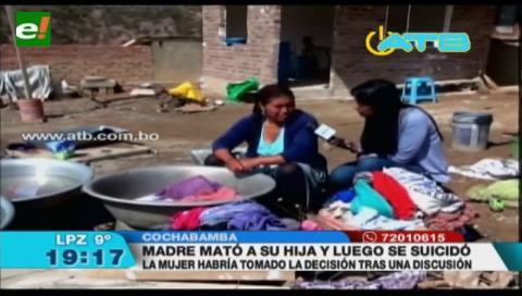 Cochabamba: Mujer mata su hija y luego se suicida