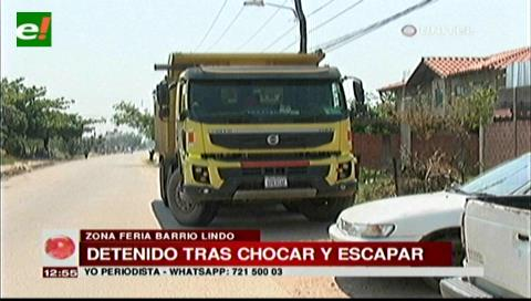 Camión chocó a un segundo vehículo cuando intentaba huir de un accidente