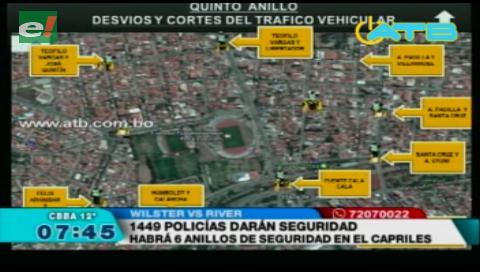 1.449 policias en el encuentro Wilstermann vs River Plate