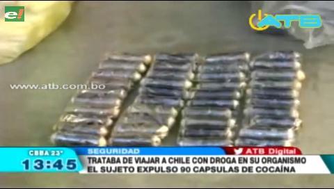 Sujeto expulsó 90 cápsulas de cocaína de su organismo