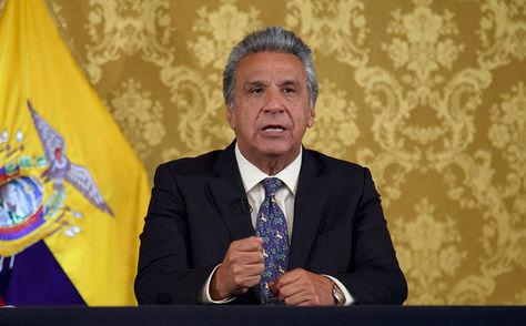 El presidente de Ecuador, Lenín Moreno, pronuncia un discurso.