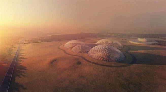 Vista aérea de algunas de las estructuras que se crearían en la ciudad marciana. (FOTO: Dubái)