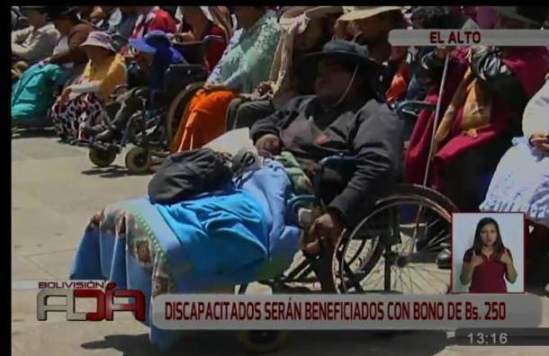 Más de tres mil discapacitados de El Alto recibirán un bono