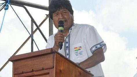 El presidente Evo Morales durante su discurso en Vallegrande. Foto. ABI