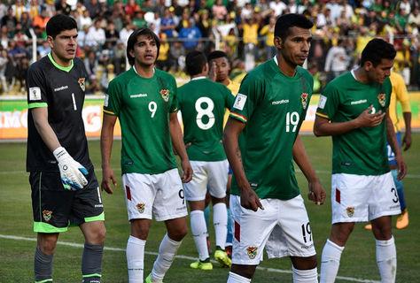 Jugadores de la selección nacional durante uno de los nueve cotejos que la Verde jugó en La Paz por eliminatorias a Rusia 2018. Foto:Archivo