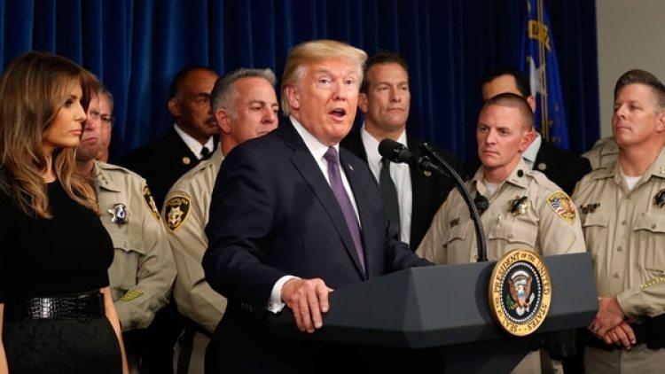 Donal Trump durante su visita a Las Vegas