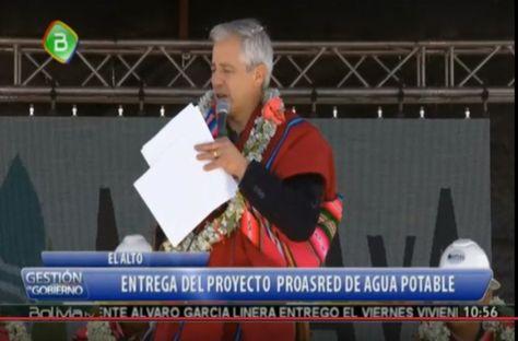 El vicepresidente Álvaro García Linera en el acto realizado en el Distrito 7 de El Alto. Foto: Captura Bolivia TV