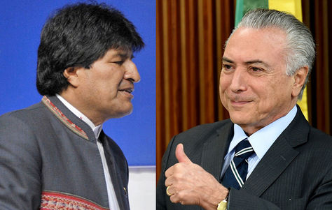 El presidente Evo Morales y el presidente de Brasil, Michel Temer.