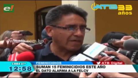 Suman a 15 los casos de feminicidios en Cochabamba en lo que va del año