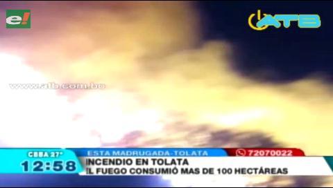 Se incendiaron mas de 100 hectareas en Tolata