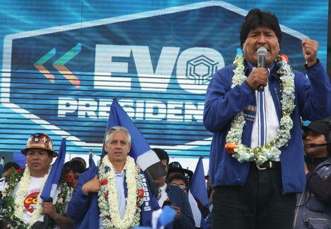 El presidente Evo Morales en una anterior campaña electoral. Foto: Archivo-La Razón