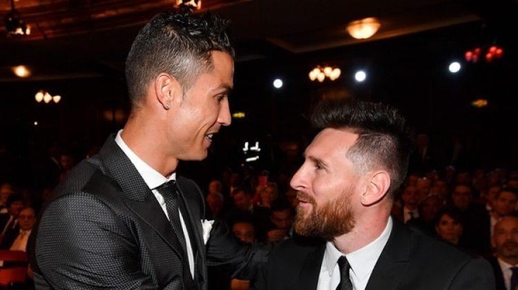 """(AFP) Cristiano Ronaldo y Lionel Messi en la gala del premio """"The Best"""""""