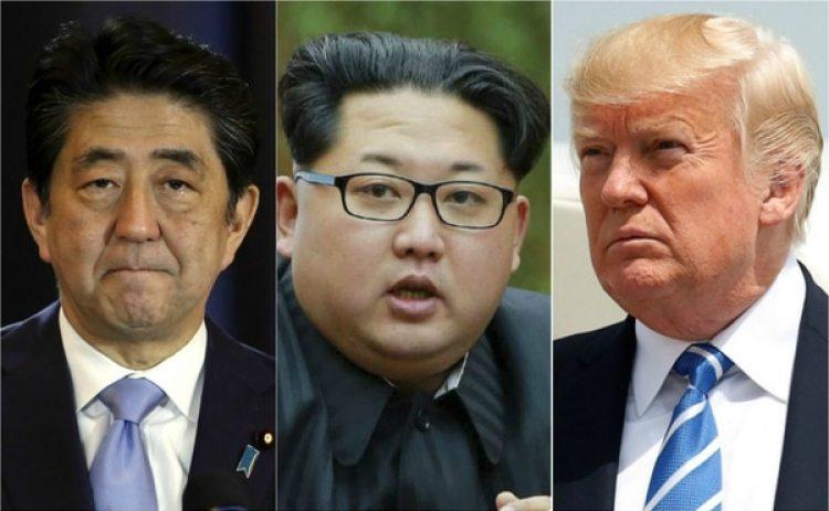 El primer ministro japonés, Shinzo Abe, el dictador de Corea del Norte, Kim Jong-un, y el presidente de EEUU, Donald Trump