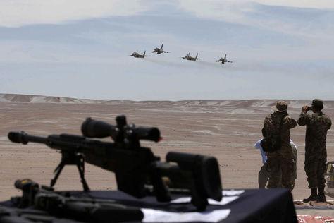 Aviones peruanos en una demostración en Arequipa