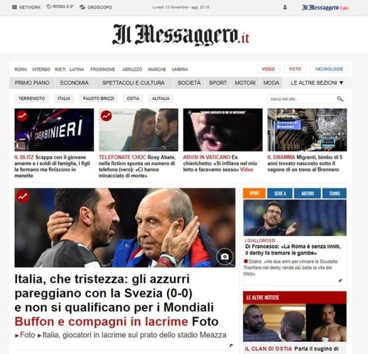 """IL Messaggero, Italia, """"Qué tristeza"""""""