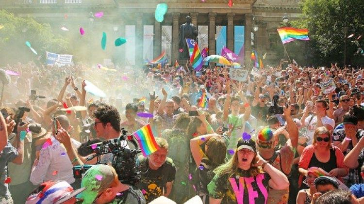 Los festejos en Australia tras la consulta sobre el matrimonio gay (Getty Images)