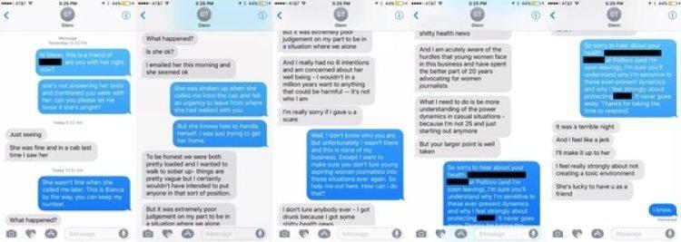 Bianca Padró Ocasio confrontó a Glenn Thrush por mensaje de texto sobre elcomportamiento que tuviera lanoche anterior con una periodista amiga de 23 años. Algunos mensajes han sido editadospara proteger la privacidad de las personas. (Capturas de pantalla cortesía de Bianca Padró Ocasio en exclusiva para Vox.com)