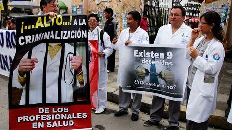 Una protesta de los médicos en la ciudad de La Paz. Foto: Archivo