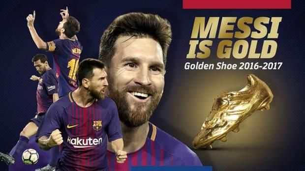 El póster oficial del premio: Messi y la Bota de Oro