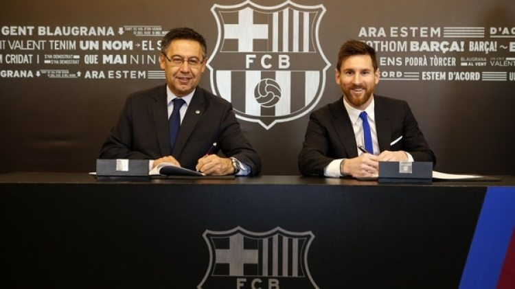 El Barcelona FC hizo oficial la extensión del contrato del argentino Lionel Messi