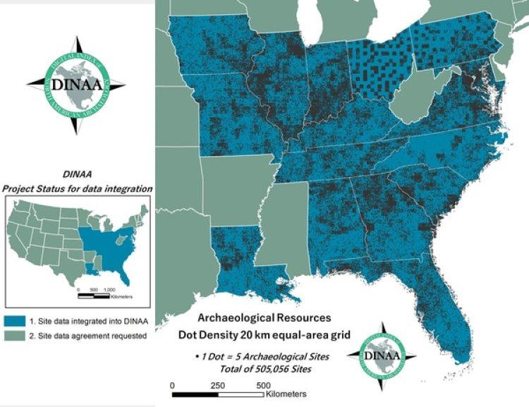 El mapa de DINAA muestra la densidad de sitios arqueológicos en peligro. (DINAA)