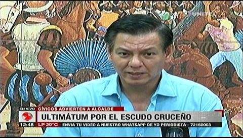 Cívicos dan ultimátum a la Alcaldía de Santa Rosa para restaurar el escudo cruceño