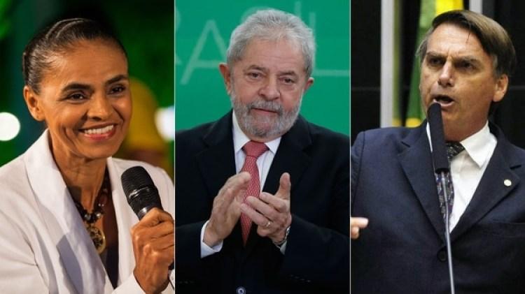 Marina Silva, Lula da Silva y Jair Bolsonaro