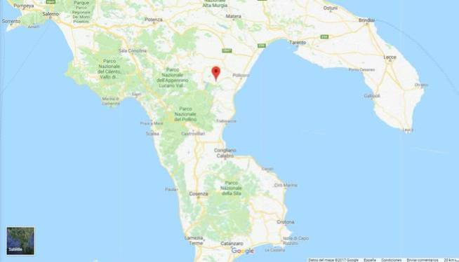 La ubicación de Colobraro. (Google Maps)