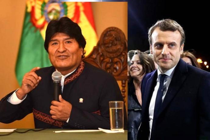 Evo Morales felicitó este lunes a Emmanuel Macron. Foto: EFE y ABI