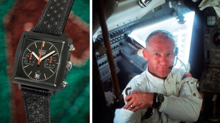 A la izquierda, TAG Heuer's Monaco. A la derecha, Buzz Aldrin muestra su Omega Speedmaster en la misión Apollo 11