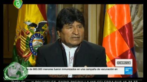 El presidente Morales en declaraciones a la cadena France 24.