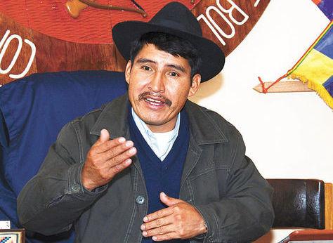 DamiánCondori, cuando estaba al mando de laCSUTCB. Foto: ABI - archivo