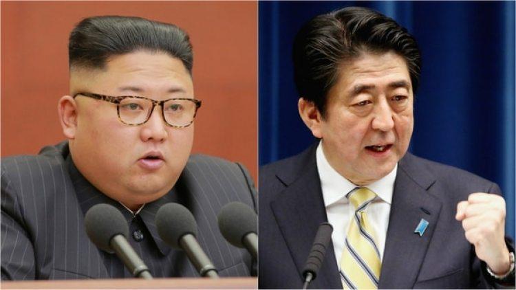 El dictador norecoreano, Kim Jong Un, y el primer ministro japonés, Shinzo Abe.