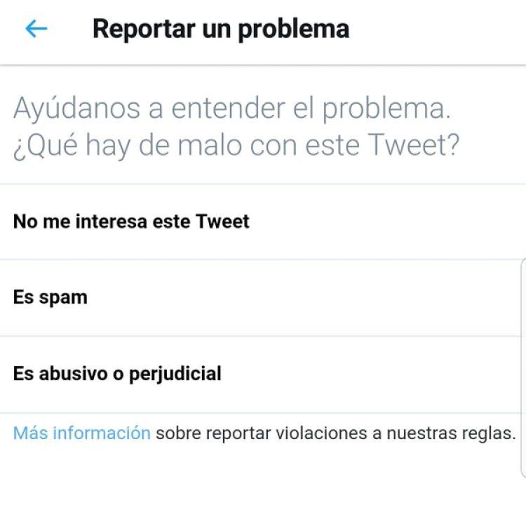 Los diferentes motivos por los cuales se puede reportar problemas con un tweet