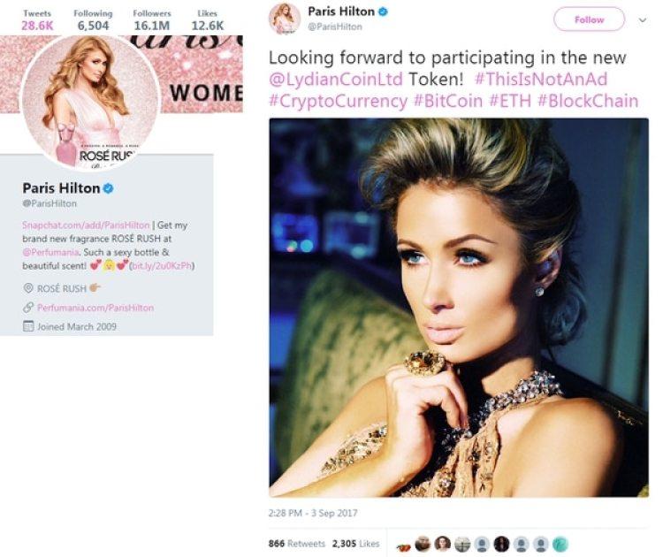 Uno de los posts en redes de Paris Hilton que complicarían su situación ante la SEC