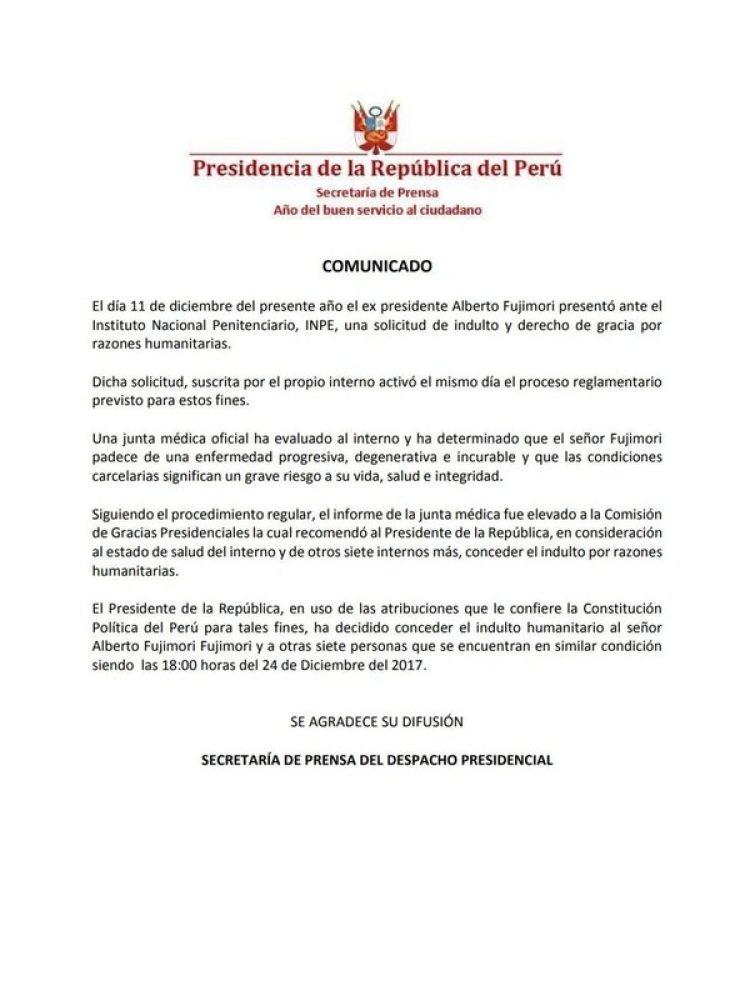 El comunicado oficial de parte de la Presidencia de la República del Perú