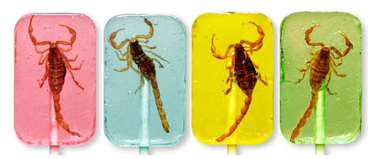 Cuatro sabores diferentes de Scorpion Suckers. Imagen cortesía de HOTLIX.