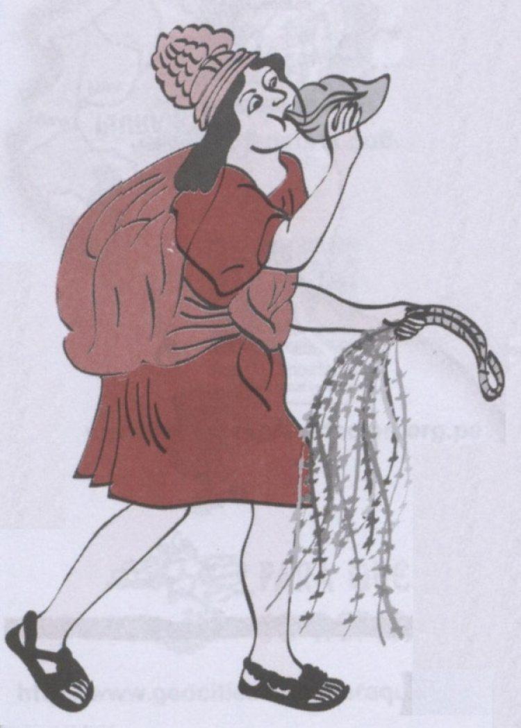Una imagen de un mensajero (chasqui) que lleva información en quipus. (Wikipedia)
