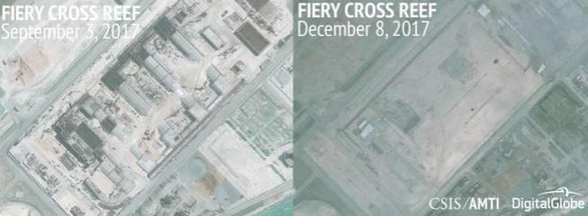 Estructuras visibles en Fiery Cross, en septiembre y diciembre de este año