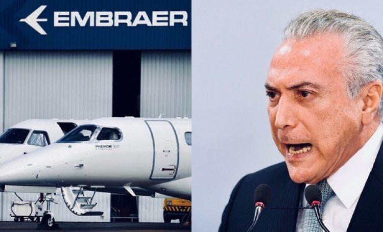 Michel Temer aseguró que le dará la bienvenida a una inyección de capital extranjero pero se opone a ceder el control de Embraer a manos de Boeing