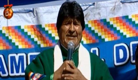 Evo Morales durante el acto de Gestión de Gobierno en Oruro. Foto: Captura Bolivia TV