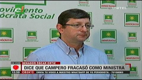 Senador Ortiz dice que Campero fracasó como ministra de Salud