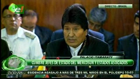 Presidente Morales aboga integración y reclama por Venezuela en Cumbre de Mercosur