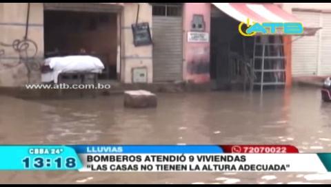 Viviendas inundadas por la lluvia en Cochabamba