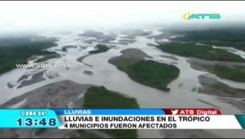 4 municipios de Cochabamba fueron afectados por inundaciones y desbordes de ríos