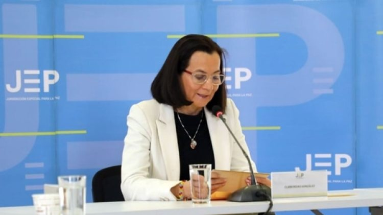 La ex representante del partido Liberal Clara Rojas, durante sus declaraciones en la JEP