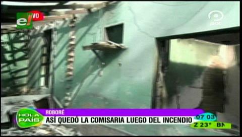 Así quedó el puesto policial en Roboré tras el incendio ocasionado por comunarios