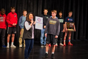 Rep. Angie Craig and Shakopee Wrestling team