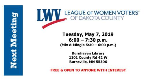 LWV of Dakota County May Meeting @ Burnhaven Library